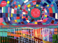 Jennifer Claveau, Pink Moon, Acrylic on canvas, inspired by music of Nick Drake 2020 60.96 x 76.2 x 3.81 cm.png